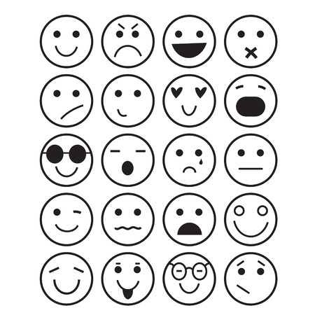 black contour smilies icons: different emotions on a white background