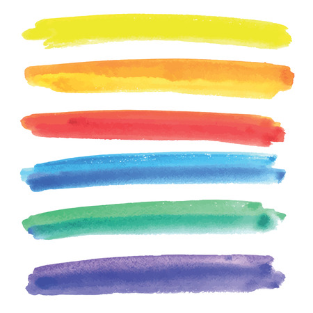 Colorful vector isolated watercolor paint brush strip