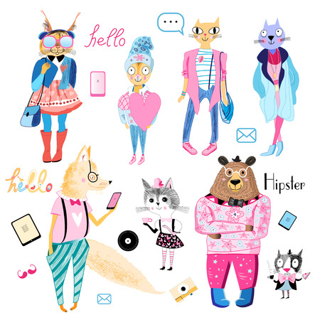 fun bright collection of animals hipsters on a white background Illustration