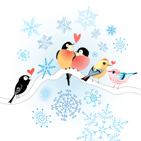 Birds in love on a white background with snowflakes Illustration