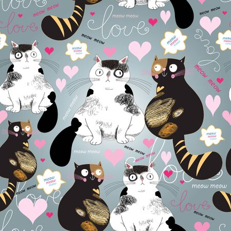 graphic pattern with funny enamored cats on a gray background Illustration