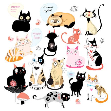 Ensemble de chats différentes sur un fond blanc. Vector illustration Banque d'images - 35178291
