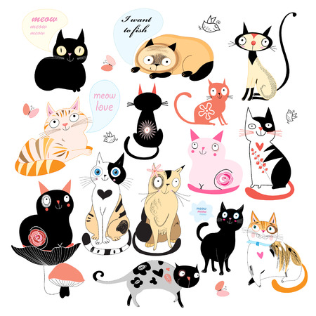 Set of different cats on a white background. Vector illustration Stock Illustratie