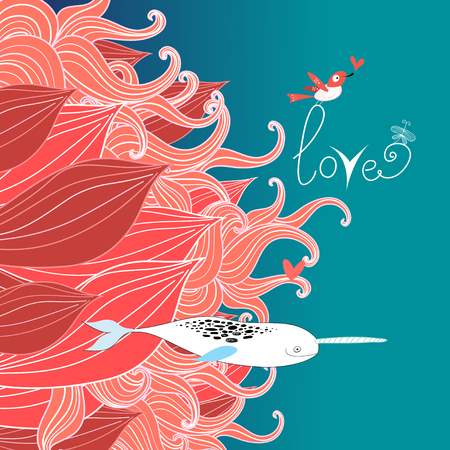 bright floral card with bird and love narwhals Ilustração