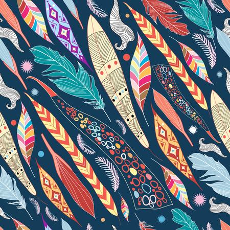 naadloze kleurrijke grafisch patroon van bladeren en veren Stock Illustratie