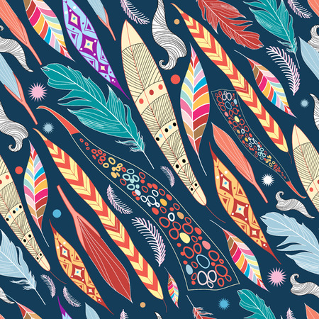 seamless colorful graphic pattern of leaves and feathers
