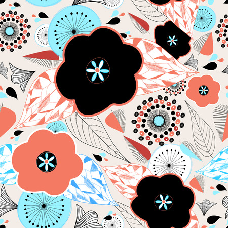 graphic nature pattern with bright flowers and leaves Illustration