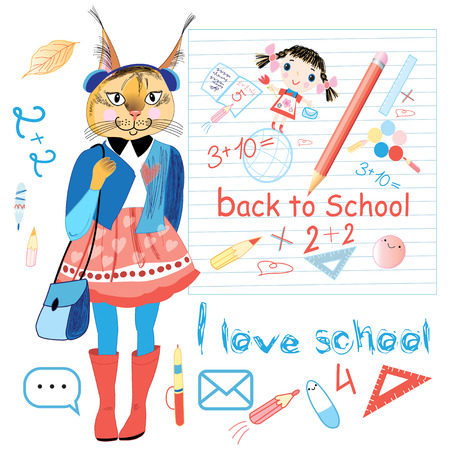 trot bright schoolgirl hipster on the background of school subjects