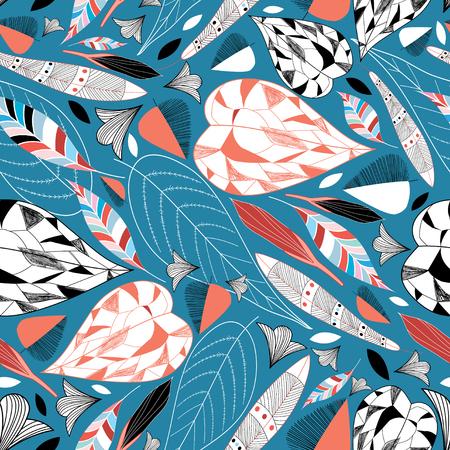 grafische natuur patroon met herfstbladeren