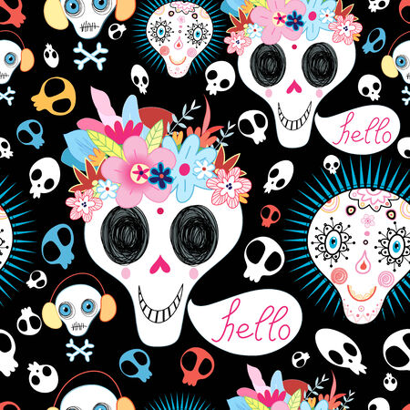 bright multicolored pattern of funny skulls on black background