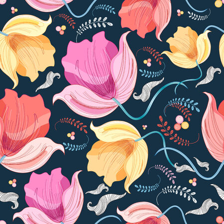 workmanship: bright colorful floral pattern on a dark blue background