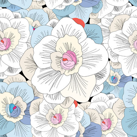 seamless pattern with beautiful delicate flowers on a black background Banco de Imagens - 35178826