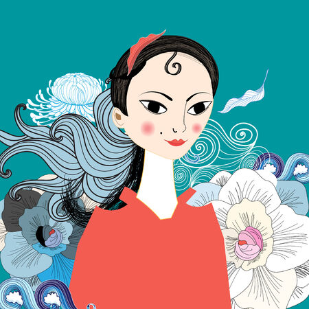 bright portrait of beautiful east girl on an ornamental background Vector