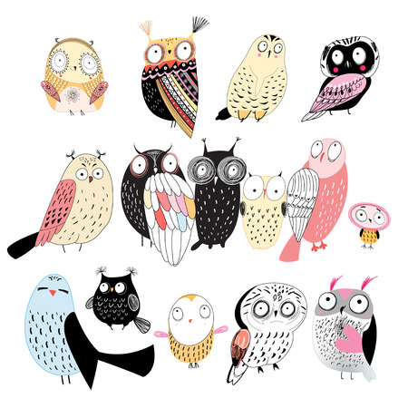 funny set of graphic owls on white background Illustration