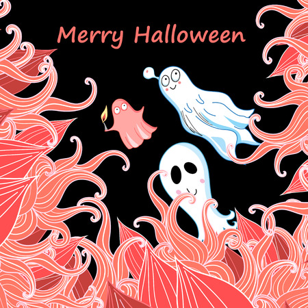 bright fun card with ghosts for Halloween Illustration