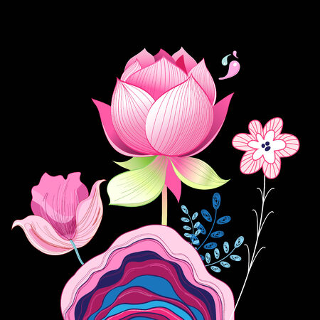 bright pink beautiful flowers on a black background Illustration