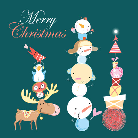 funny Christmas card with snowman and gifts, and animals on a dark green background