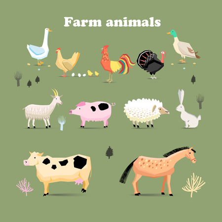 Set of farm animals, set in a flat vector style with chicken turkeys cock pig sheep duck goose rabbit goat dairy cow horses Ilustração