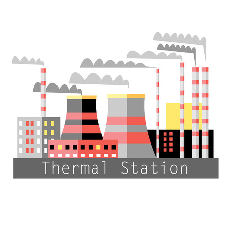 thermal power plant: graphic color illustration thermal power plant on a white background Illustration