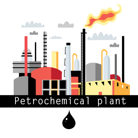 petrochemical plant: graphics petrochemical plant on a white background