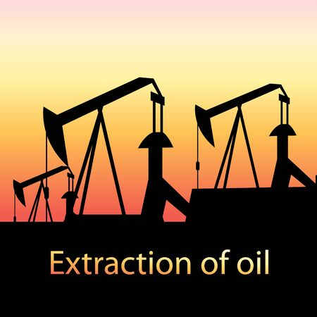 graphic illustration of oil production at sunset