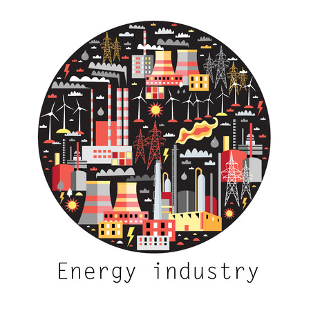 petrochemical: Industry background with industrial power plants and petrochemical plants