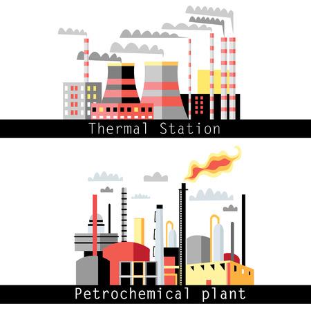 thermal power plant: ilustraci�n gr�fica de una planta petroqu�mica y planta de energ�a t�rmica Vectores