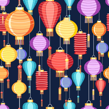 New pattern of colorful Chinese lanterns on a dark background Vector