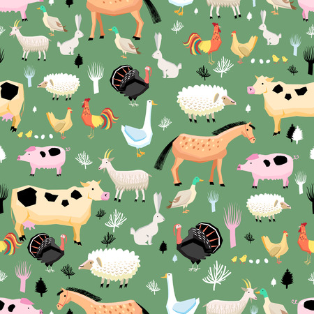 cock duck: Seamless graphic pattern of farm animals on a green background Illustration