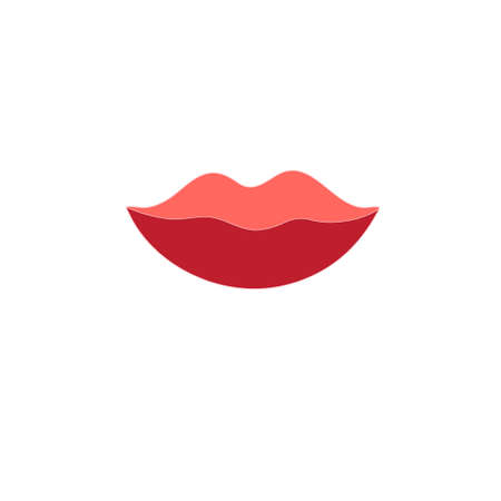 simplified: graphic red bright lips sign on a white backgroundr