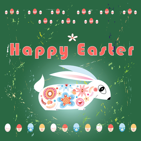 Bright Easter card with rabbit and decorative eggs on a green background