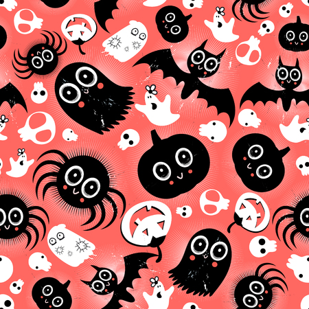 reproduce: bright graphic pattern Halloween monsters on a red background