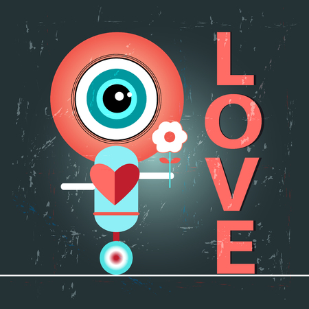 bright funny graphic love with a robot Vector