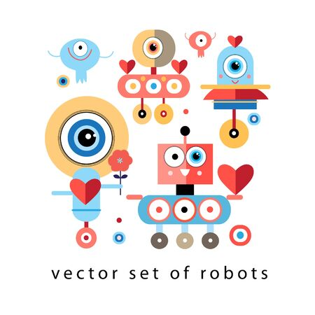droid: graphic set funny robots in love on a white background