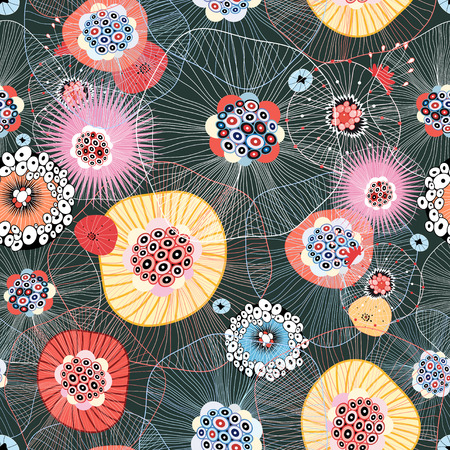 colorful abstract seamless pattern of unusual items Ilustrace