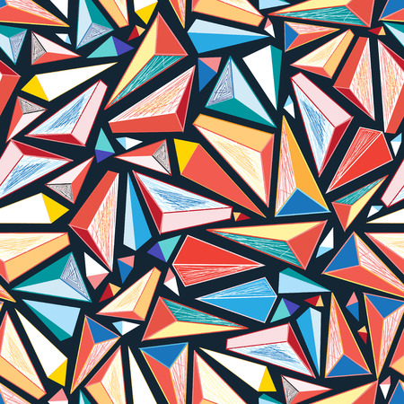 reproduce: bright colorful seamless pattern of triangles on a dark background