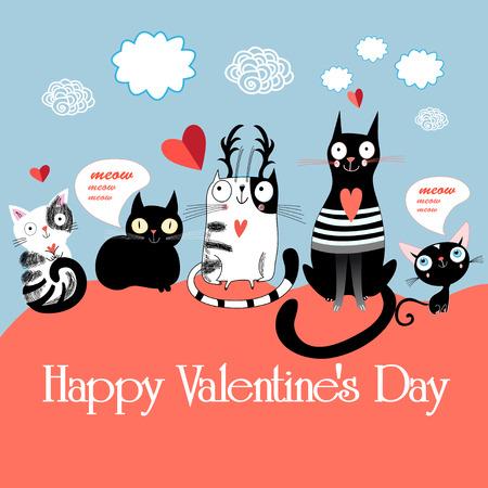 grafische liefhebbers katten met serdtsamina lichte achtergrond Stock Illustratie