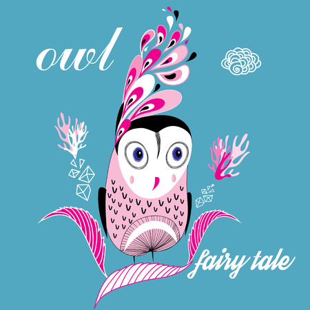 funny graphic owl on a blue background Vector