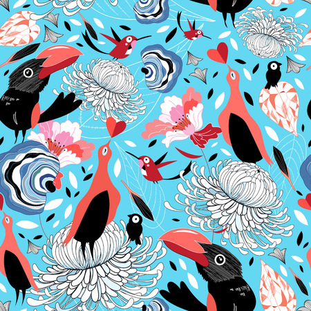 beautiful graphic pattern with birds on a blue background