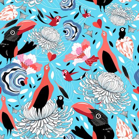 prachtig grafisch patroon met vogels op een blauwe achtergrond
