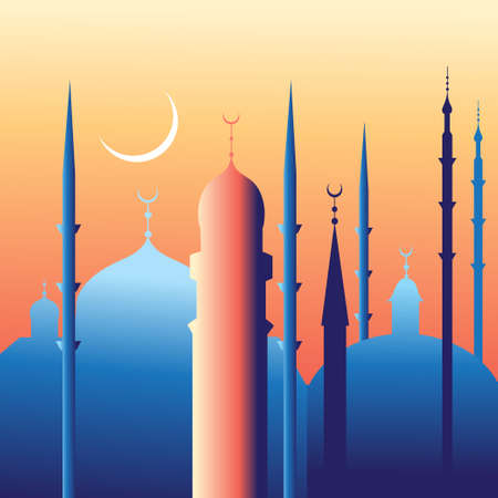 minarets: landscape with beautiful mosques and minarets of the month