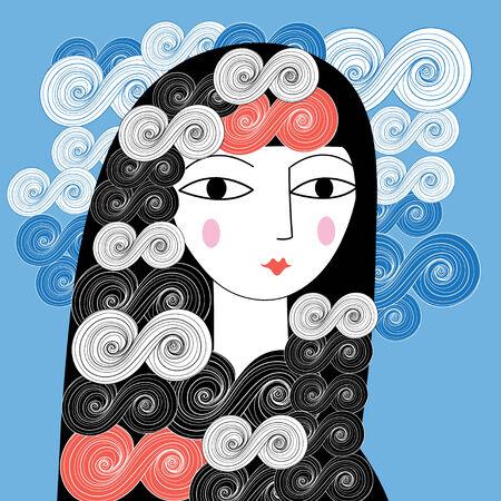 girl illustration: retrato gr�fico de una ilustraci�n hermosa chica