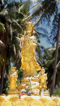 goddess of mercy: beautiful statue of Guan Yin Chinese Goddess of Mercy in the palm grove