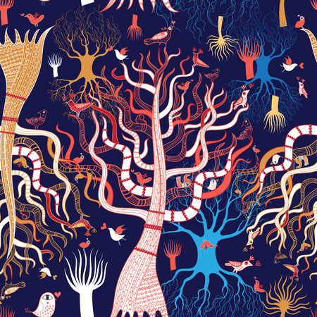 reproduce: graphic pattern magic tree with birds in love on a blue background