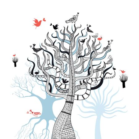 graphic magic tree with birds in love on a white background Vector