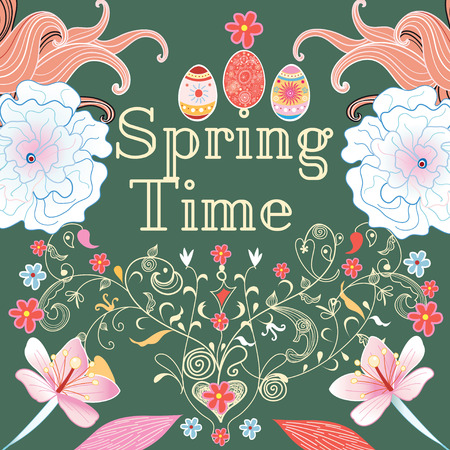 spring time: Floral decorative background spring time with different plants and eggs Illustration