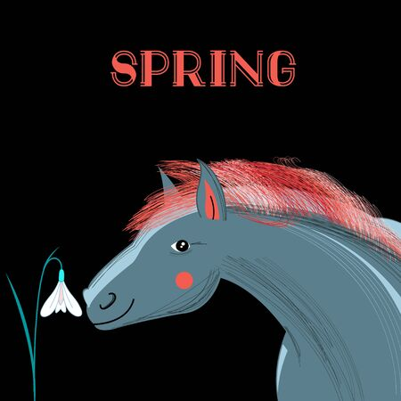 snowdrops: graphics spring card with a picture of a horse and snowdrops on a black background Illustration
