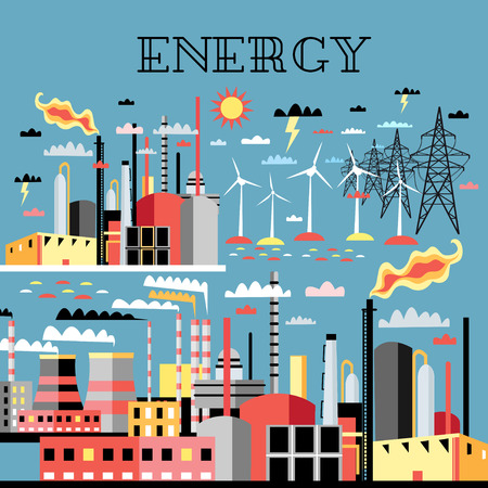 industry background: Fondo de la industria con las centrales el�ctricas industriales y plantas petroqu�micas