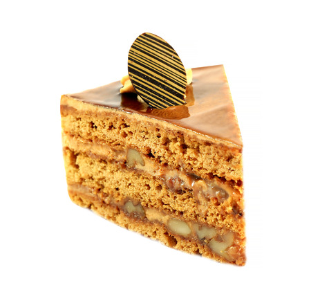 nutty: delicious nutty piece of cake isolated on white background Stock Photo