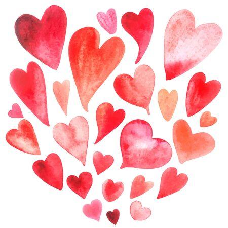 probation: Beautiful bright watercolor set lovers heart. Vector illustration